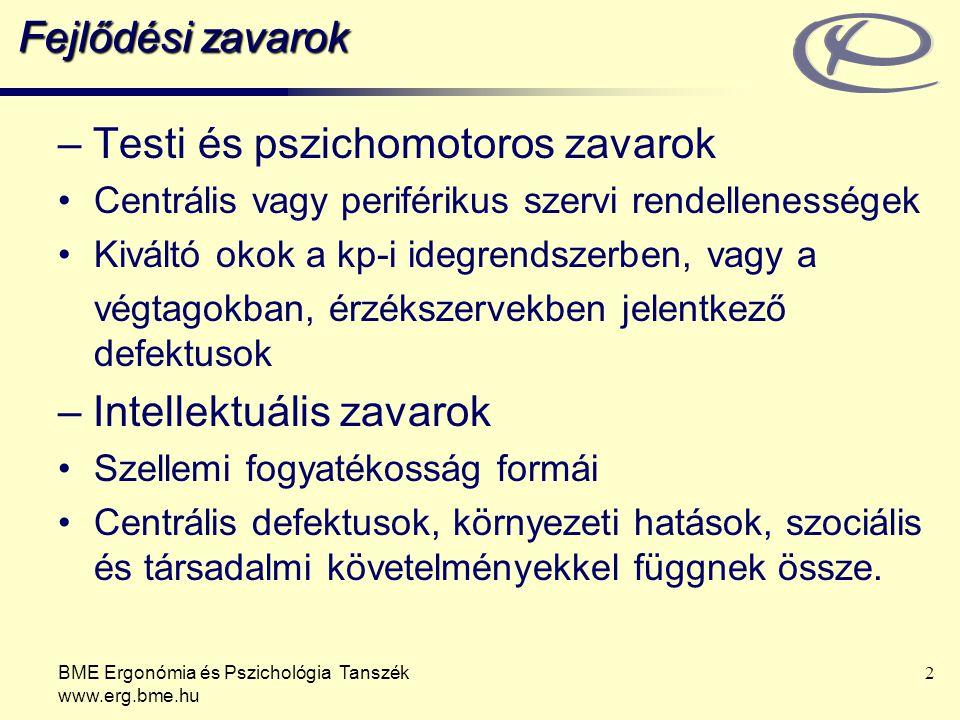BME Ergonómia és Pszichológia Tanszék www.erg.bme.hu 2 Fejlődési zavarok – Testi és pszichomotoros zavarok Centrális vagy periférikus szervi rendellenességek Kiváltó okok a kp-i idegrendszerben, vagy a végtagokban, érzékszervekben jelentkező defektusok – Intellektuális zavarok Szellemi fogyatékosság formái Centrális defektusok, környezeti hatások, szociális és társadalmi követelményekkel függnek össze.