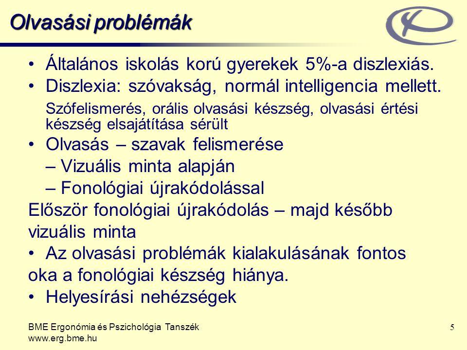 BME Ergonómia és Pszichológia Tanszék www.erg.bme.hu 5 Olvasási problémák Általános iskolás korú gyerekek 5%-a diszlexiás. Diszlexia: szóvakság, normá