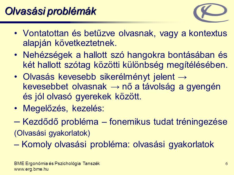BME Ergonómia és Pszichológia Tanszék www.erg.bme.hu 6 Olvasási problémák Vontatottan és betűzve olvasnak, vagy a kontextus alapján következtetnek.