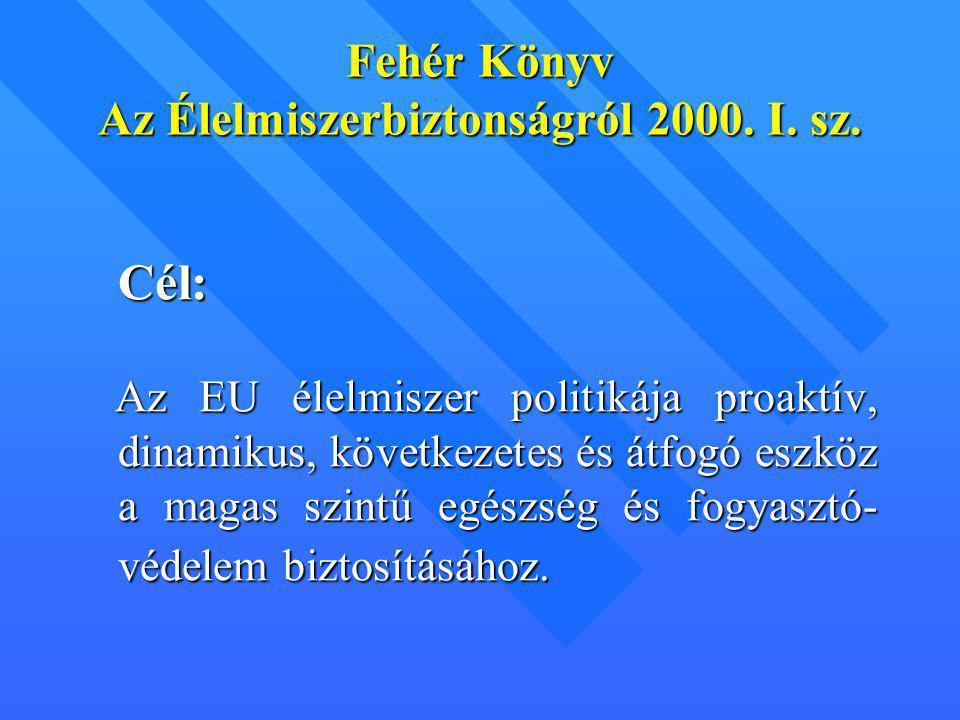Fehér Könyv Az Élelmiszerbiztonságról 2000. I. sz. C él: Az EU élelmiszer politikája proaktív, dinamikus, következetes és átfogó eszköz a magas szintű
