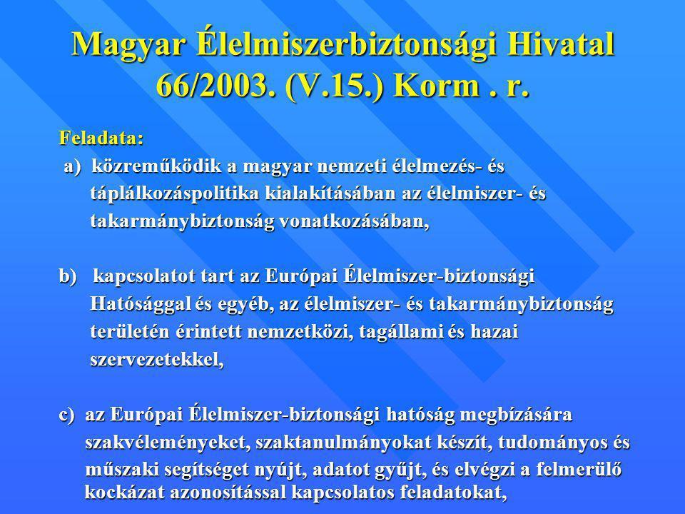 Magyar Élelmiszerbiztonsági Hivatal 66/2003. (V.15.) Korm. r. Feladata: a) közreműködik a magyar nemzeti élelmezés- és a) közreműködik a magyar nemzet