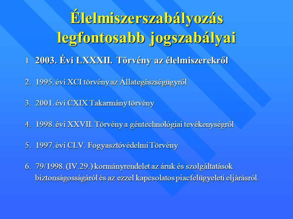 Élelmiszerszabályozás legfontosabb jogszabályai 1 2003. Évi LXXXII. Törvény az élelmiszerekről 2. 1995. évi XCI törvény az Állategészségügyről 3. 2001