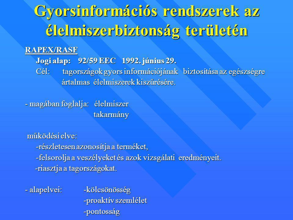 Gyorsinformációs rendszerek az élelmiszerbiztonság területén RAPEX/RASF Jogi alap: 92/59 EEC 1992. június 29. Cél: tagországok gyors információjának b