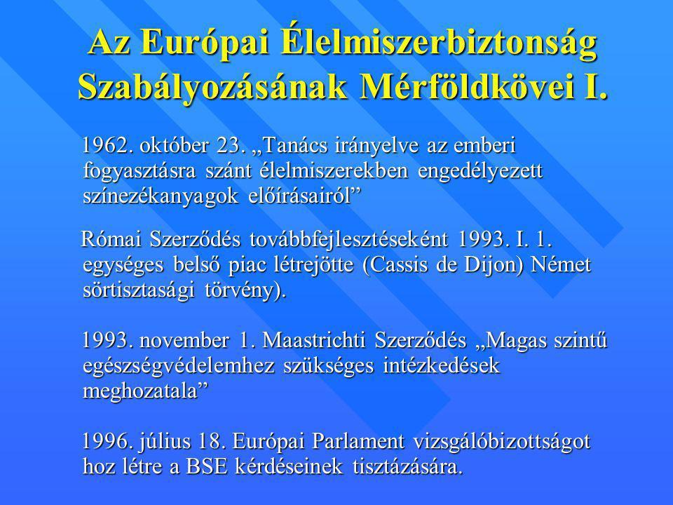 """Az Európai Élelmiszerbiztonság Szabályozásának Mérföldkövei I. 1962. október 23. """"Tanács irányelve az emberi fogyasztásra szánt élelmiszerekben engedé"""