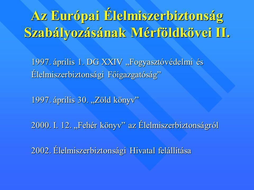 Európai élelmiszerbiztonsági Hivatal Ügyvezető igazgató Irányító testületTudományos Bizottság Ipar képviselője Fogyasztó- védelem képviselője Érintett Minisztérium képviselője Nem Kormányzati Szervek képviselője 8 panel Hivatal Szervezete Jogi alapja: - Fehérkönyv - EFSA ajánlás - EC 178/2002 Feladatok: - kockázatbecslés tudományos alapon - kockázat kommunikáció - kooperáció biztosítása - tudományos tanácsadás -Fogyasztók informálása - állásfoglalás, intézkedés kritikus helyzetekben -Gyorsinformációs rendszer