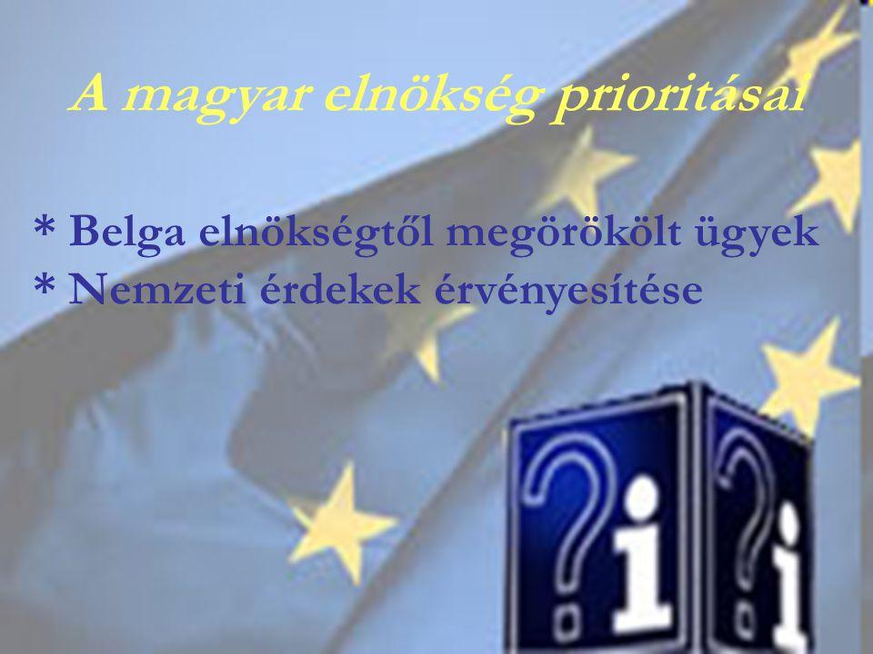 * Belga elnökségtől megörökölt ügyek * Nemzeti érdekek érvényesítése A magyar elnökség prioritásai
