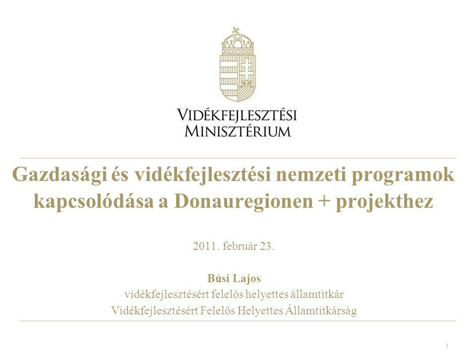 1 Gazdasági és vidékfejlesztési nemzeti programok kapcsolódása a Donauregionen + projekthez 2011.