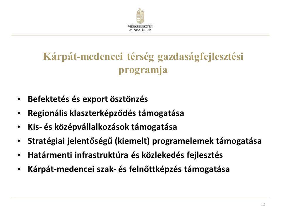 12 Kárpát-medencei térség gazdaságfejlesztési programja Befektetés és export ösztönzés Regionális klaszterképződés támogatása Kis- és középvállalkozások támogatása Stratégiai jelentőségű (kiemelt) programelemek támogatása Határmenti infrastruktúra és közlekedés fejlesztés Kárpát-medencei szak- és felnőttképzés támogatása