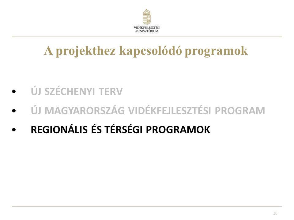 26 ÚJ SZÉCHENYI TERV ÚJ MAGYARORSZÁG VIDÉKFEJLESZTÉSI PROGRAM REGIONÁLIS ÉS TÉRSÉGI PROGRAMOK A projekthez kapcsolódó programok