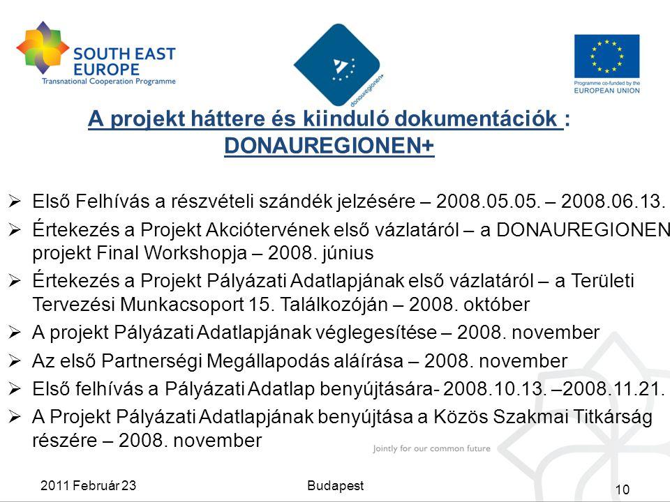 A projekt háttere és kiinduló dokumentációk : DONAUREGIONEN+  Első Felhívás a részvételi szándék jelzésére – 2008.05.05. – 2008.06.13.  Értekezés a