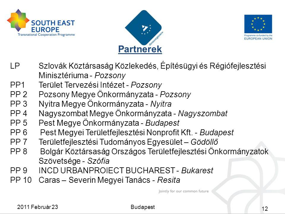 Partnerek LPSzlovák Köztársaság Közlekedés, Építésügyi és Régiófejlesztési Minisztériuma - Pozsony PP1 Terület Tervezési Intézet - Pozsony PP 2 Pozson