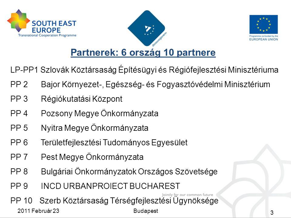 3 Partnerek: 6 ország 10 partnere 2011 Február 23Budapest LP-PP1 Szlovák Köztársaság Építésügyi és Régiófejlesztési Minisztériuma PP 2 Bajor Környezet