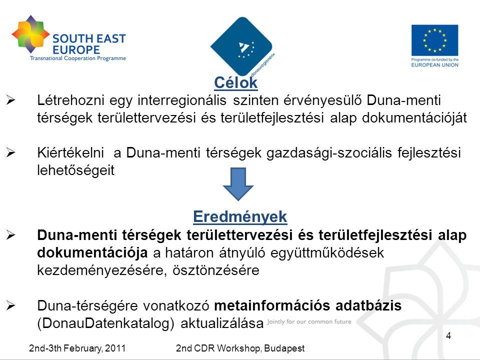 4 Célok 2nd-3th February, 20112nd CDR Workshop, Budapest  Létrehozni egy interregionális szinten érvényesülő Duna-menti térségek területtervezési és területfejlesztési alap dokumentációját  Kiértékelni a Duna-menti térségek gazdasági-szociális fejlesztési lehetőségeit Eredmények  Duna-menti térségek területtervezési és területfejlesztési alap dokumentációja a határon átnyúló együttműködések kezdeményezésére, ösztönzésére  Duna-térségére vonatkozó metainformációs adatbázis (DonauDatenkatalog) aktualizálása