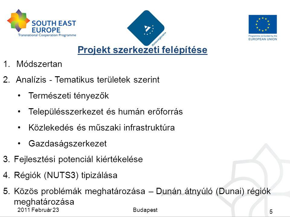 Projekt szerkezeti felépítése 1. Módszertan 2. Analízis - Tematikus területek szerint Természeti tényezők Településszerkezet és humán erőforrás Közlek