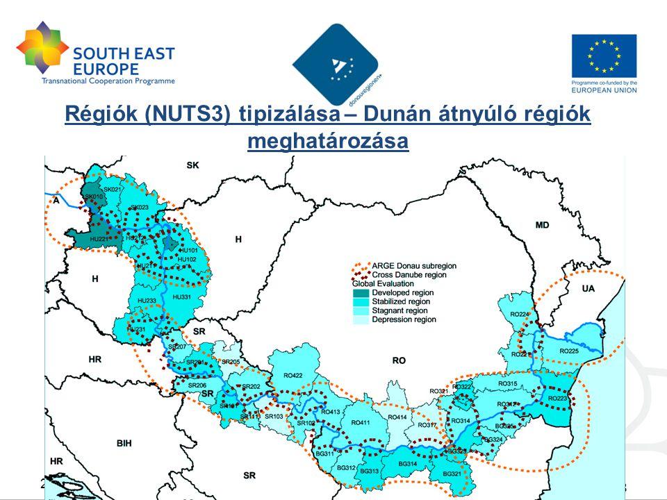 Régiók (NUTS3) tipizálása – Dunán átnyúló régiók meghatározása 8 2011 Február 23Budapest