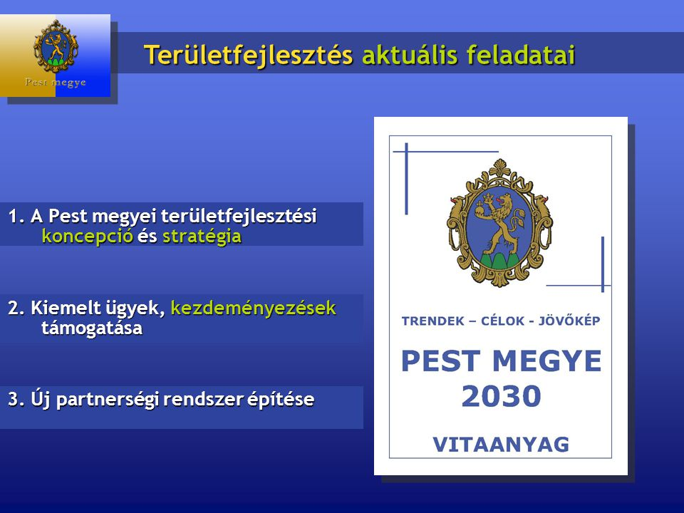 1. A Pest megyei területfejlesztési koncepció és stratégia Területfejlesztés aktuális feladatai 2.