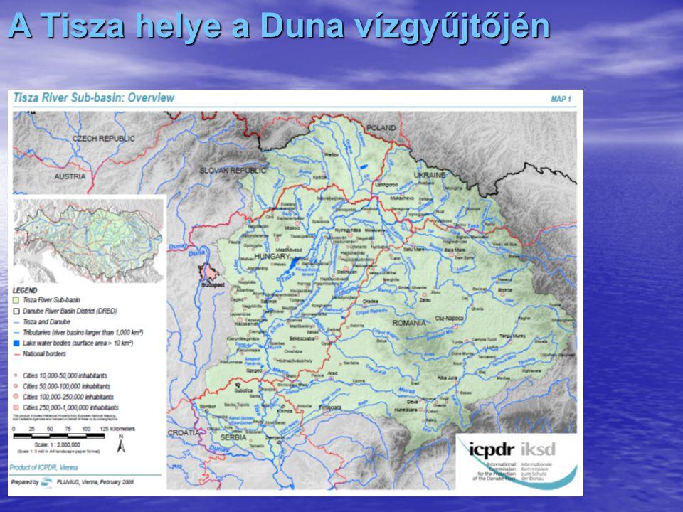 A Tisza főbb adatai Vízgyűjtő területe: 157.200 km 2 Vízgyűjtő területe: 157.200 km 2Ebből –külföldön:110.040 km 2 (~70%) –belföldön: 47.160 km 2 (~30%) Hossza: 945,8 km (600 Km magyar) Hossza: 945,8 km (600 Km magyar) alulfekvő ország felülfekvő ország problematikája