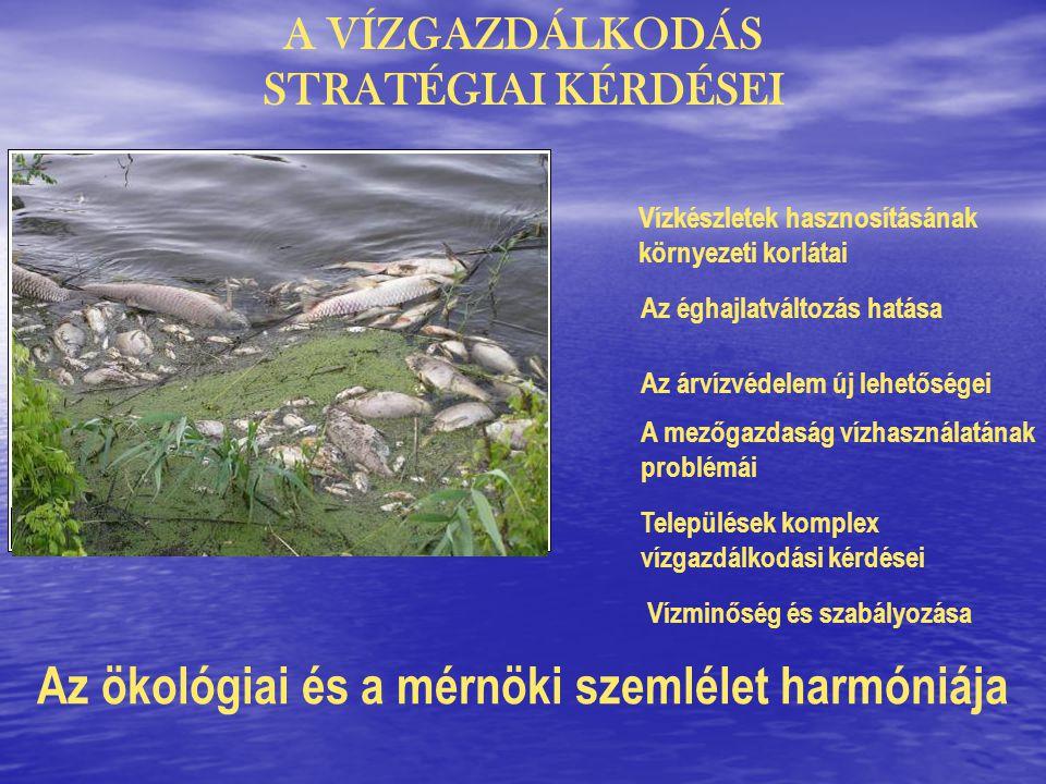 A VÍZGAZDÁLKODÁS STRATÉGIAI KÉRDÉSEI Vízkészletek hasznosításának környezeti korlátai Az árvízvédelem új lehetőségei A mezőgazdaság vízhasználatának problémái Települések komplex vízgazdálkodási kérdései Az ökológiai és a mérnöki szemlélet harmóniája Az éghajlatváltozás hatása Vízminőség és szabályozása