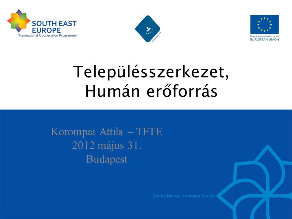 Településszerkezet, Humán erőforrás Korompai Attila – TFTE 2012 május 31. Budapest