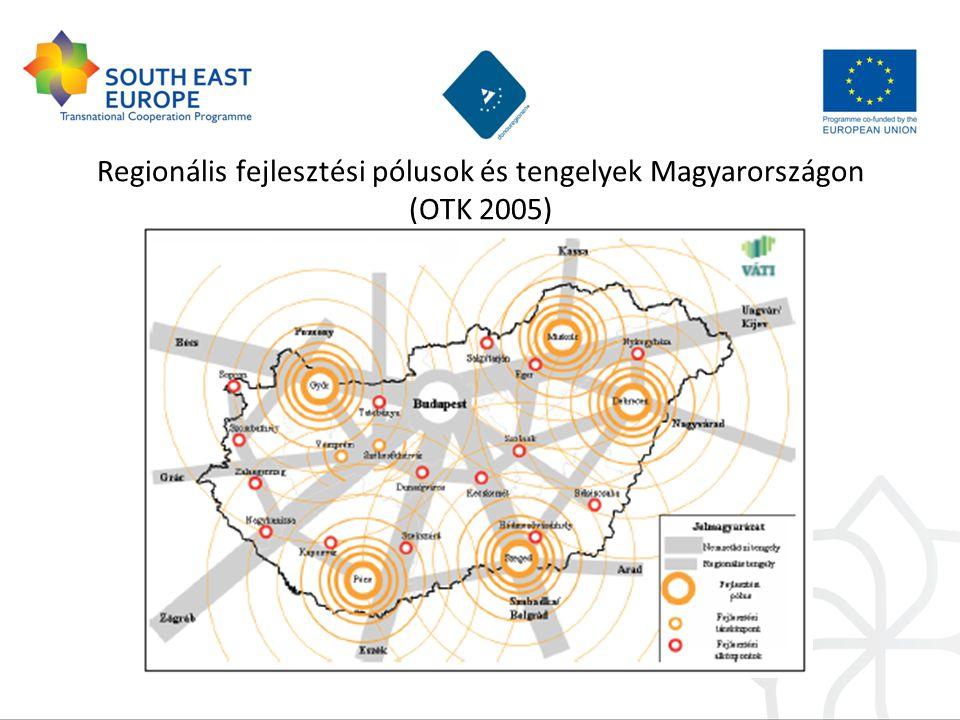 Regionális fejlesztési pólusok és tengelyek Magyarországon (OTK 2005)