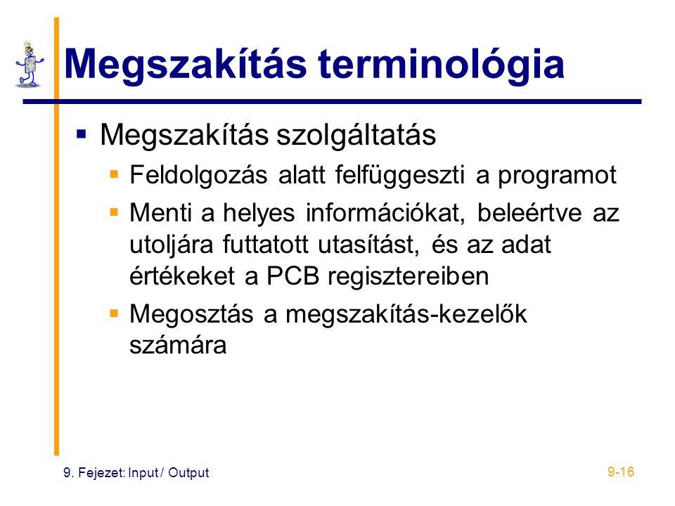 9. Fejezet: Input / Output 9-16 Megszakítás terminológia  Megszakítás szolgáltatás  Feldolgozás alatt felfüggeszti a programot  Menti a helyes info