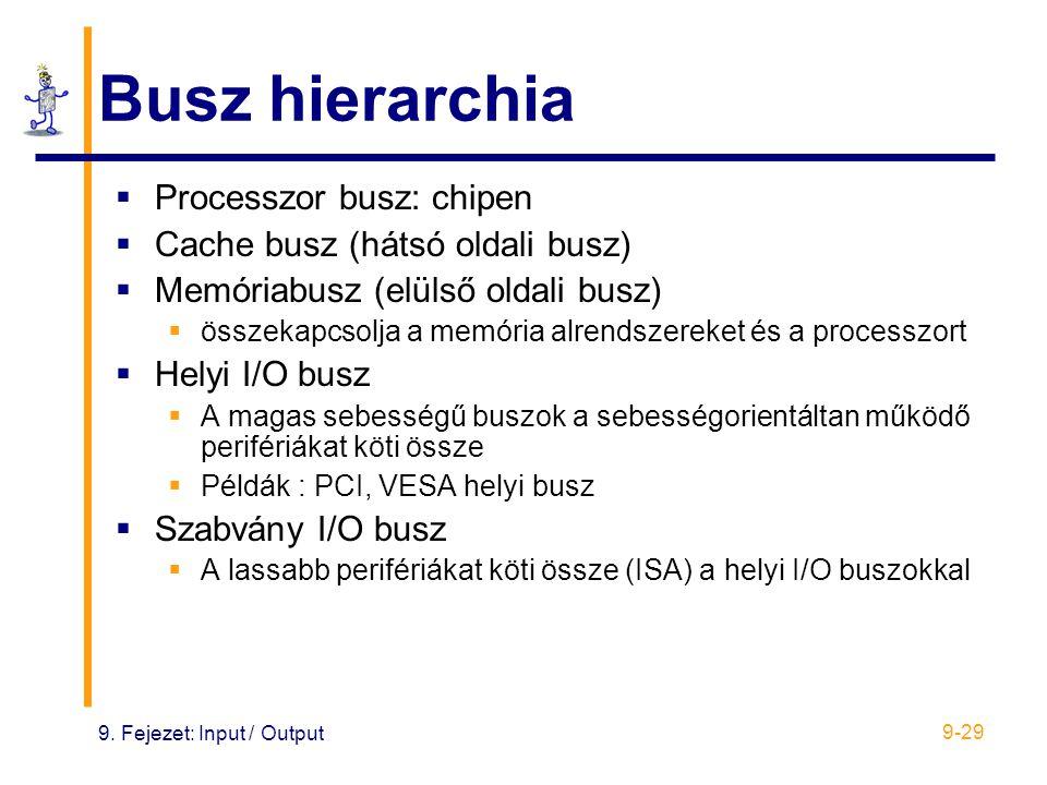 9. Fejezet: Input / Output 9-29 Busz hierarchia  Processzor busz: chipen  Cache busz (hátsó oldali busz)  Memóriabusz (elülső oldali busz)  összek
