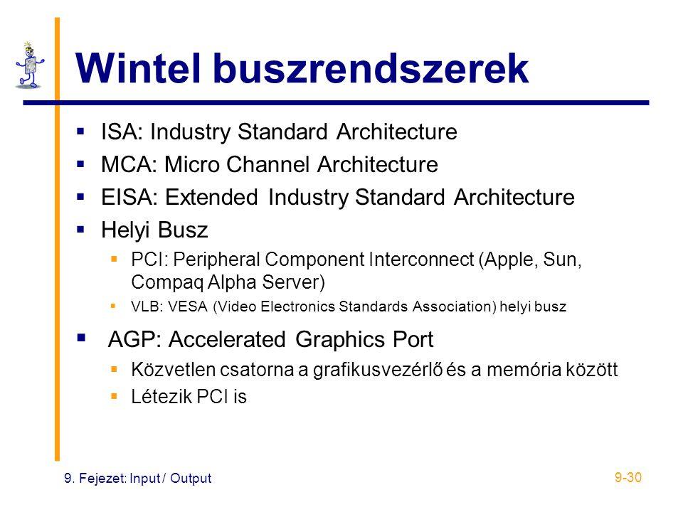 9. Fejezet: Input / Output 9-30 Wintel buszrendszerek  ISA: Industry Standard Architecture  MCA: Micro Channel Architecture  EISA: Extended Industr