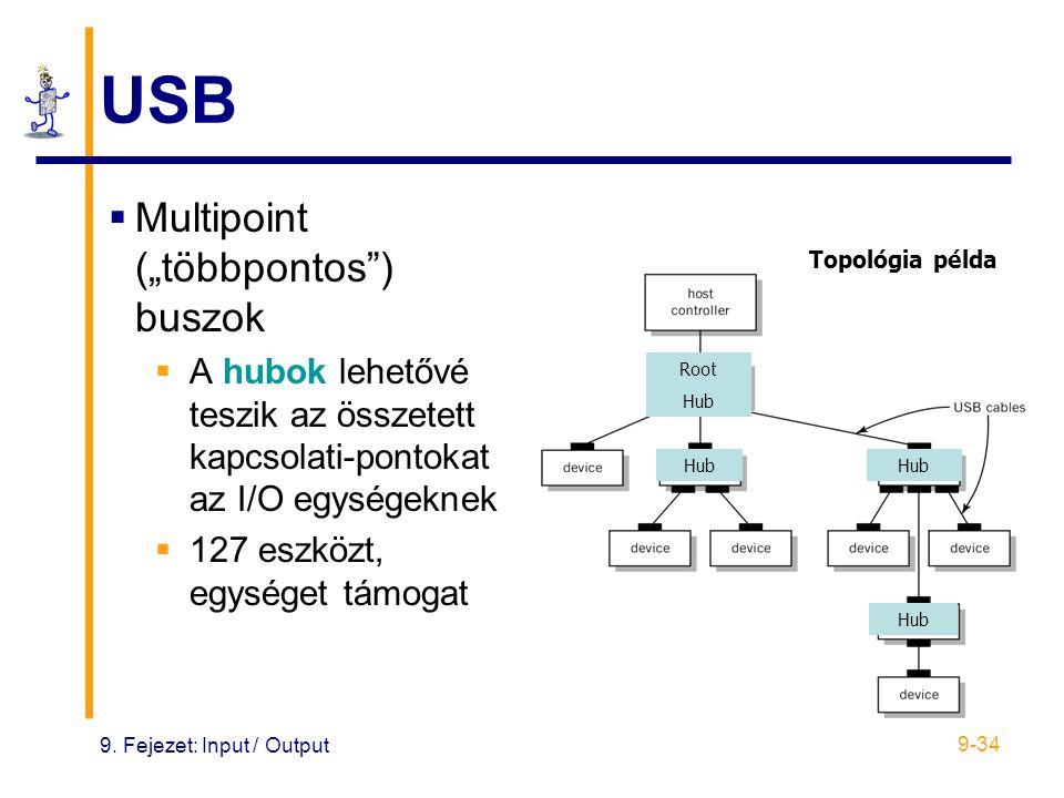 """9. Fejezet: Input / Output 9-34 Root Hub USB  Multipoint (""""többpontos"""") buszok  A hubok lehetővé teszik az összetett kapcsolati-pontokat az I/O egys"""