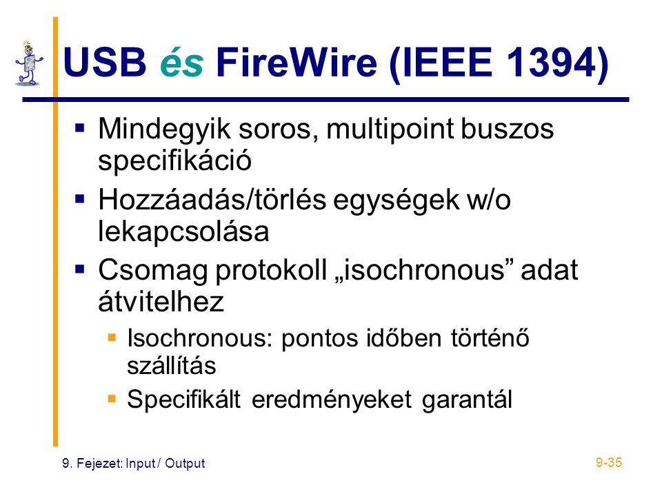 9. Fejezet: Input / Output 9-35 USB és FireWire (IEEE 1394)  Mindegyik soros, multipoint buszos specifikáció  Hozzáadás/törlés egységek w/o lekapcso