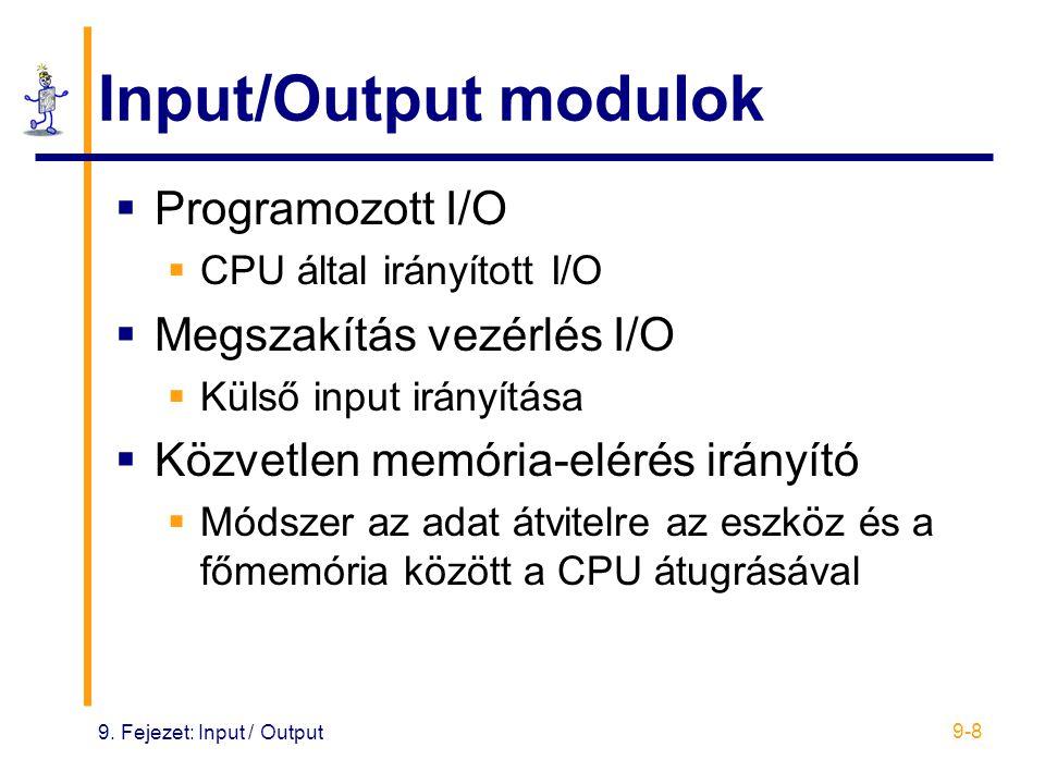 9. Fejezet: Input / Output 9-8 Input/Output modulok  Programozott I/O  CPU által irányított I/O  Megszakítás vezérlés I/O  Külső input irányítása