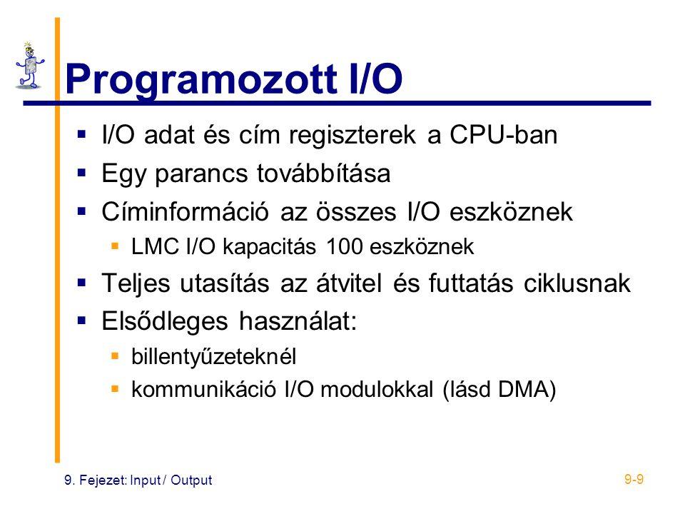 9. Fejezet: Input / Output 9-9 Programozott I/O  I/O adat és cím regiszterek a CPU-ban  Egy parancs továbbítása  Címinformáció az összes I/O eszköz