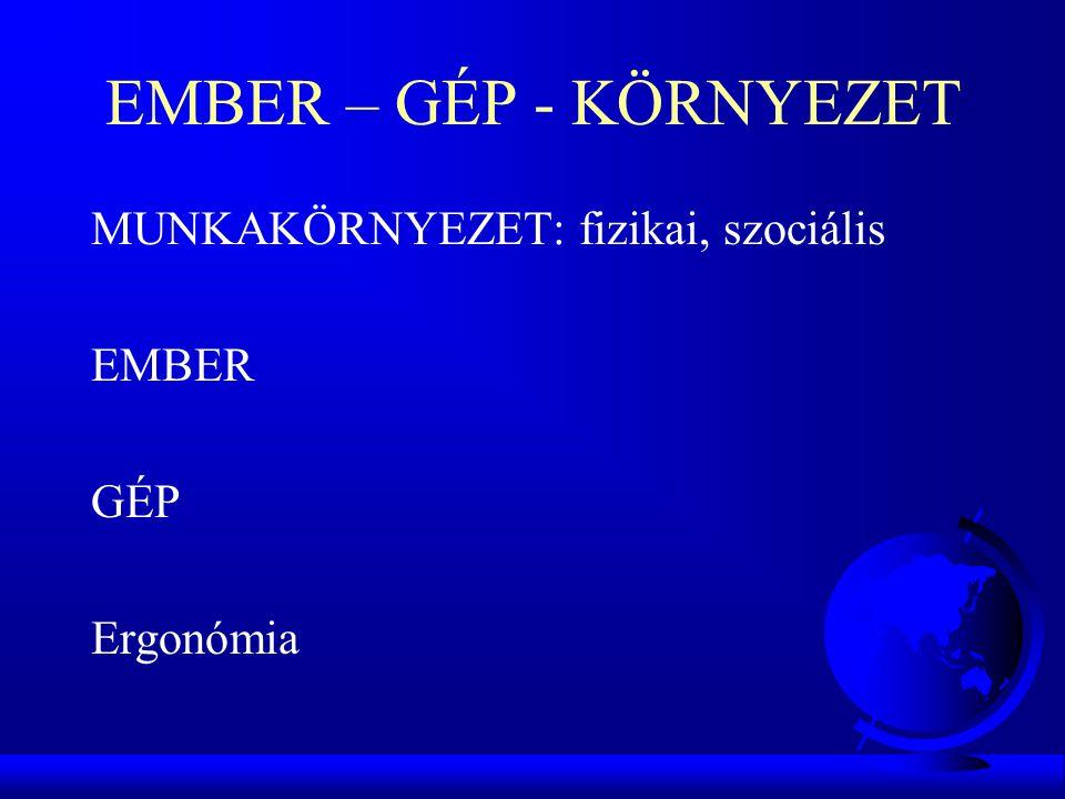 EMBER – GÉP - KÖRNYEZET MUNKAKÖRNYEZET: fizikai, szociális EMBER GÉP Ergonómia