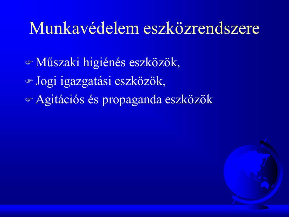 Munkavédelem eszközrendszere F Műszaki higiénés eszközök, F Jogi igazgatási eszközök, F Agitációs és propaganda eszközök
