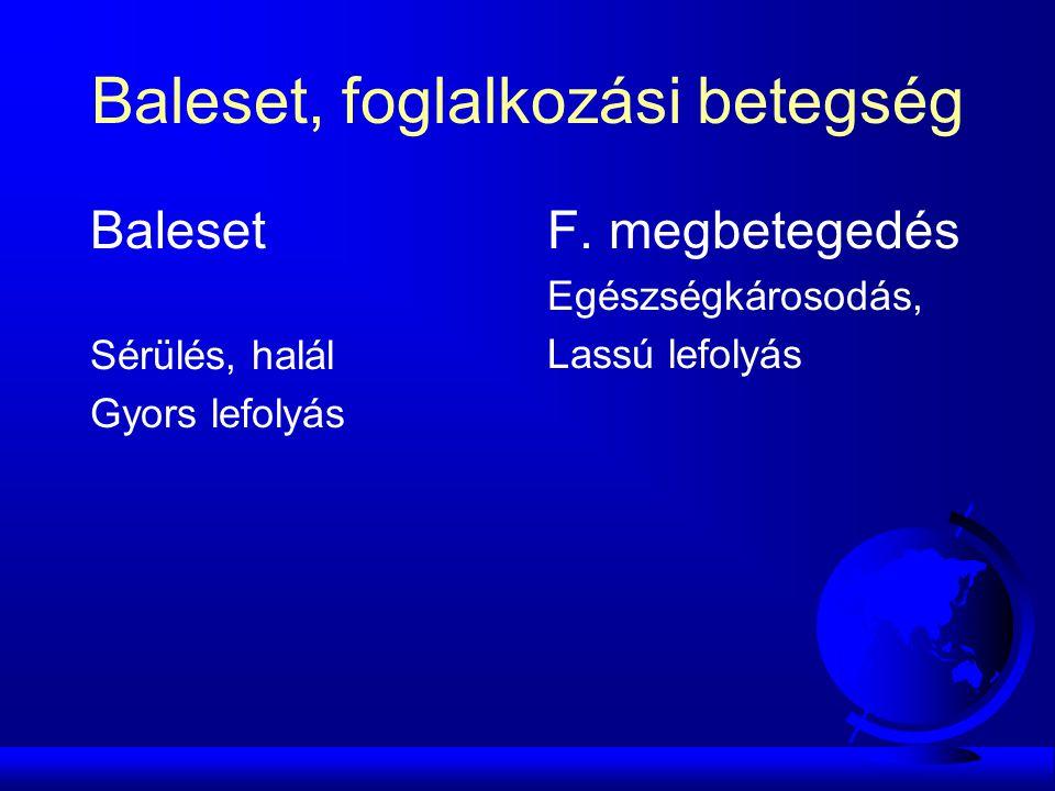 Baleset, foglalkozási betegség Baleset Sérülés, halál Gyors lefolyás F.