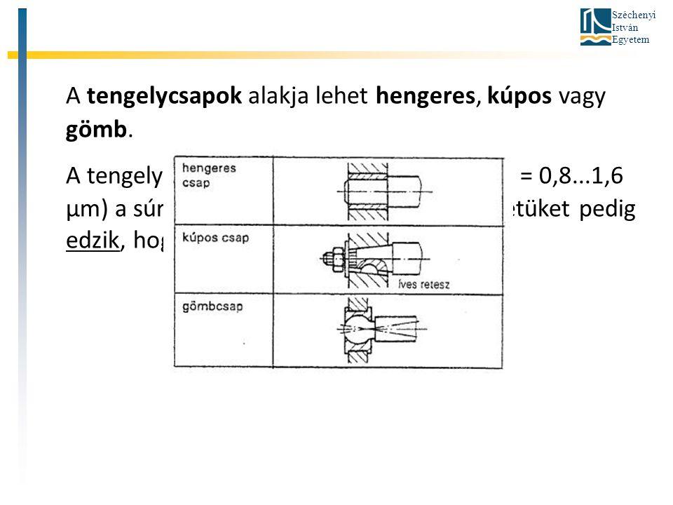 Széchenyi István Egyetem A tengelycsapok alakja lehet hengeres, kúpos vagy gömb. A tengelycsapokat általában köszörülik (Ra = 0,8...1,6 μm) a súrlódás