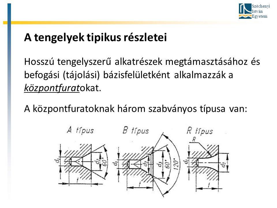 Széchenyi István Egyetem A tengelyek tipikus részletei Hosszú tengelyszerű alkatrészek megtámasztásához és befogási (tájolási) bázisfelületként alkalm