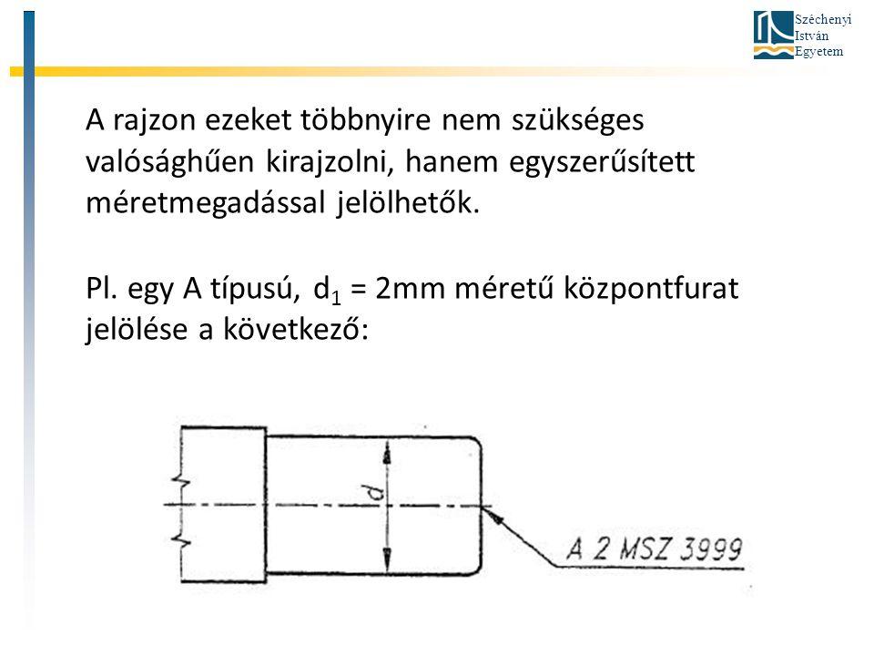 Széchenyi István Egyetem A rajzon ezeket többnyire nem szükséges valósághűen kirajzolni, hanem egyszerűsített méretmegadással jelölhetők. Pl. egy A tí