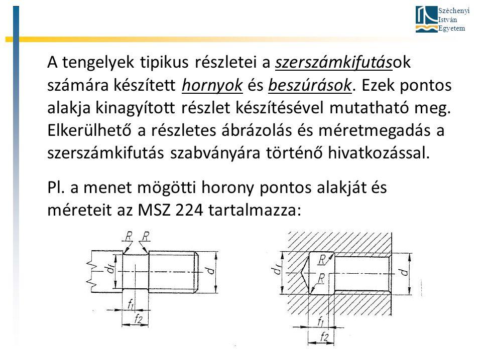 Széchenyi István Egyetem A tengelyek tipikus részletei a szerszámkifutások számára készített hornyok és beszúrások. Ezek pontos alakja kinagyított rés