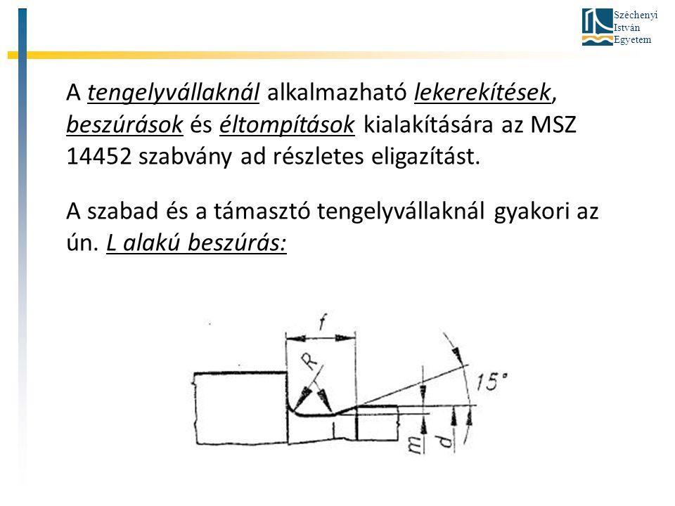Széchenyi István Egyetem A tengelyvállaknál alkalmazható lekerekítések, beszúrások és éltompítások kialakítására az MSZ 14452 szabvány ad részletes el