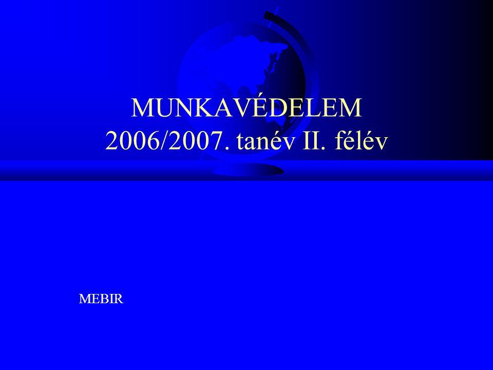 MUNKAVÉDELEM 2006/2007. tanév II. félév MEBIR