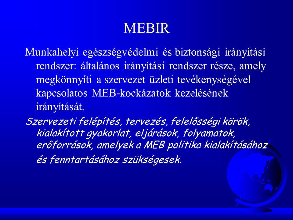 MEBIR Munkahelyi egészségvédelmi és biztonsági irányítási rendszer: általános irányítási rendszer része, amely megkönnyíti a szervezet üzleti tevékeny