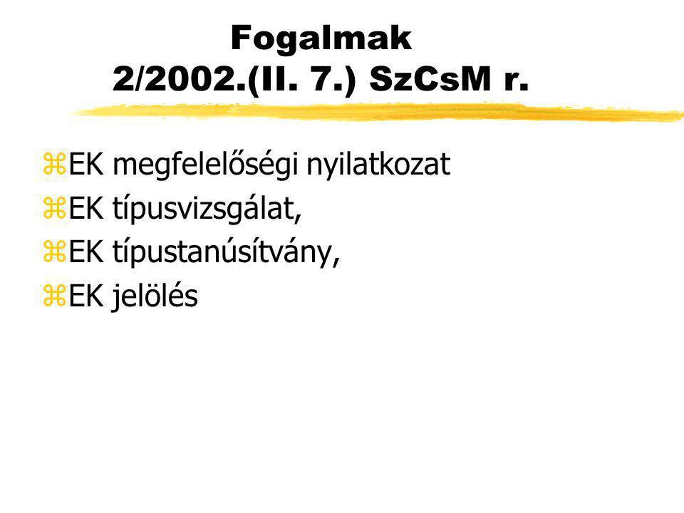 Fogalmak 2/2002.(II. 7.) SzCsM r. zEK megfelelőségi nyilatkozat zEK típusvizsgálat, zEK típustanúsítvány, zEK jelölés