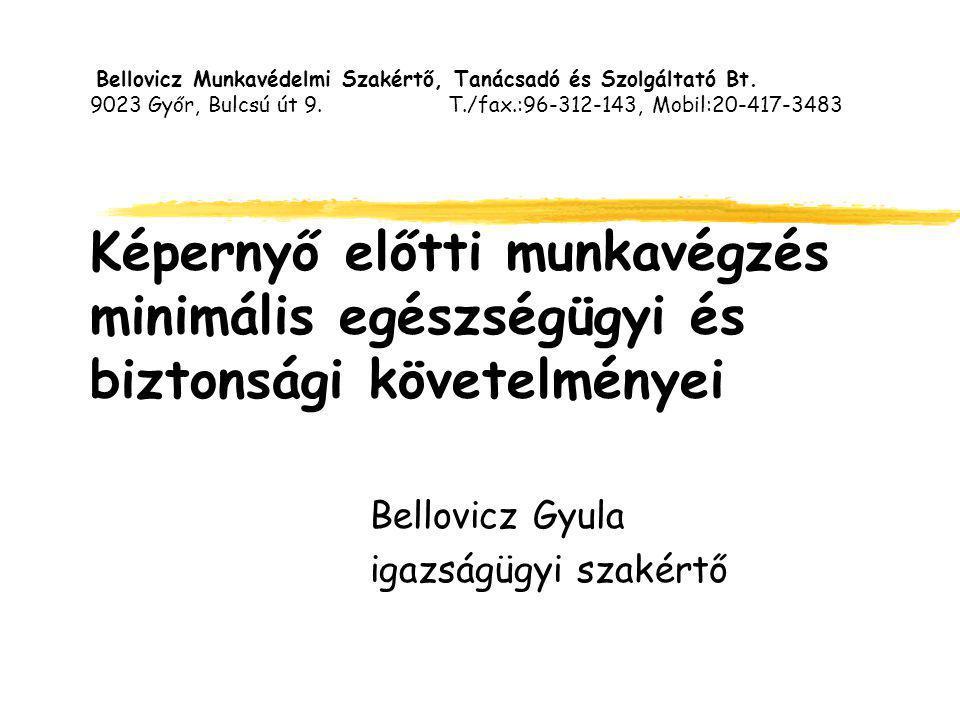 Bellovicz Munkavédelmi Szakértő, Tanácsadó és Szolgáltató Bt. 9023 Győr, Bulcsú út 9. T./fax.:96-312-143, Mobil:20-417-3483 Képernyő előtti munkavégzé