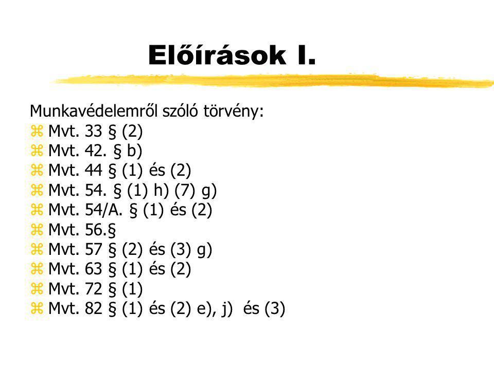 Előírások II.z65/1999. (XII. 22.) EüM r. z2/2002.