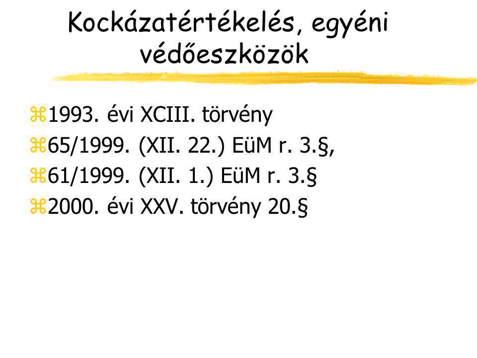 Kockázatértékelés, egyéni védőeszközök z1993. évi XCIII. törvény z65/1999. (XII. 22.) EüM r. 3.§, z61/1999. (XII. 1.) EüM r. 3.§ z2000. évi XXV. törvé