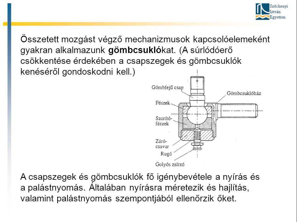 Összetett mozgást végző mechanizmusok kapcsolóelemeként gyakran alkalmazunk gömbcsuklókat. (A súrlódóerő csökkentése érdekében a csapszegek és gömbcsu