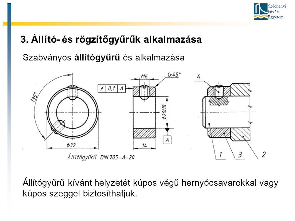 3. Állító- és rögzítőgyűrűk alkalmazása Szabványos állítógyűrű és alkalmazása Állítógyűrű kívánt helyzetét kúpos végű hernyócsavarokkal vagy kúpos sze