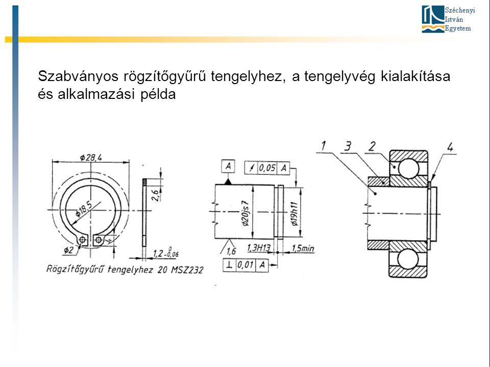 Szabványos rögzítőgyűrű tengelyhez, a tengelyvég kialakítása és alkalmazási példa