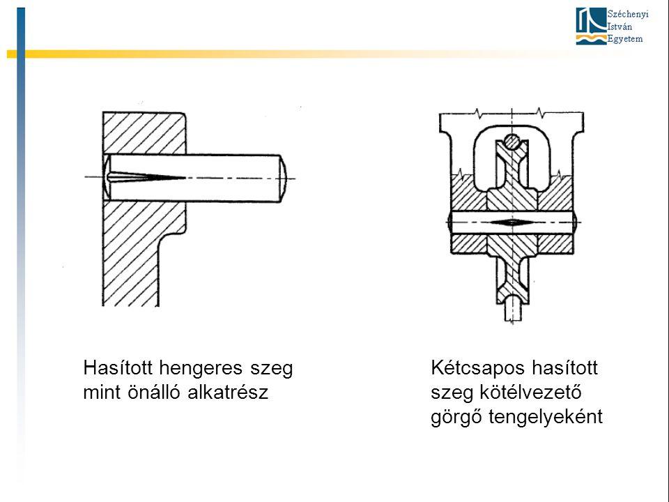 Hasított hengeres szeg mint önálló alkatrész Kétcsapos hasított szeg kötélvezető görgő tengelyeként