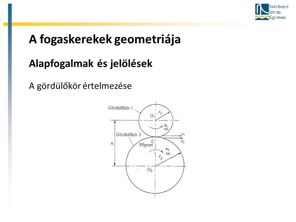 Széchenyi István Egyetem A fogaskerekek geometriája Alapfogalmak és jelölések A gördülőkör értelmezése